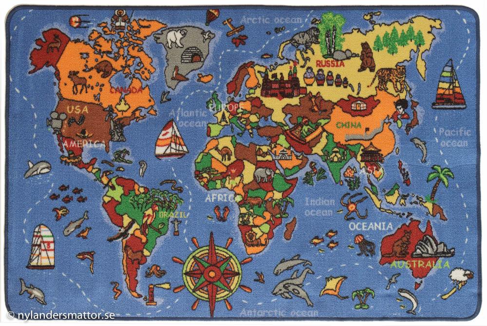 matta karta World map, barnmatta med världskarta   Nylanders Mattor matta karta