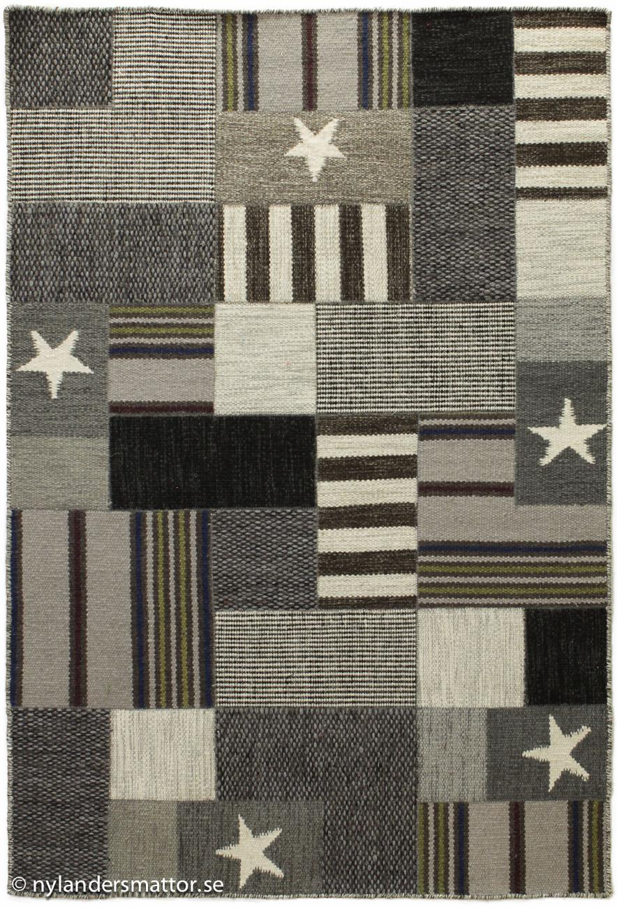 Texas grå patchwork i ullmattor   nylanders mattor