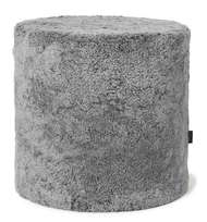 Curly pouf Cylinder Charcoal - Skinn