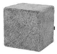 Curly Pouf Square Charcoal grey-silver - Skinn