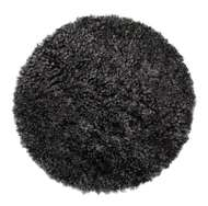 Curly rund stolsdyna Dark Grey - Skinn