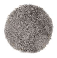 Curly rund stolsdyna Natural Grey - Skinn
